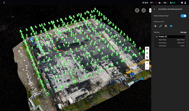 Pomiary hałd z drona