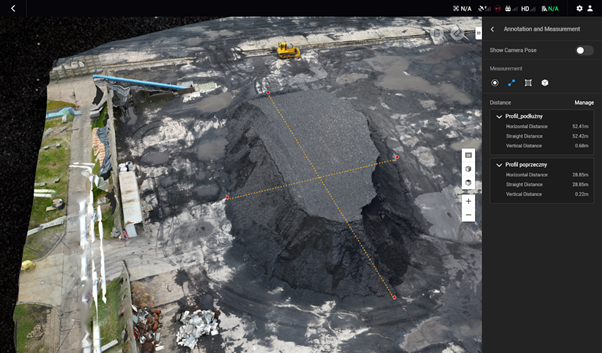 Obliczanie objętości hałd węgla z drona